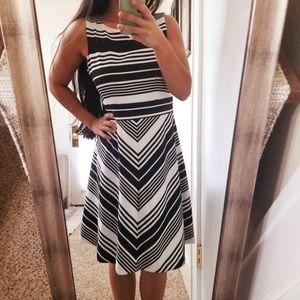 Taylor Black White Striped Cocktail Dress Flare 8